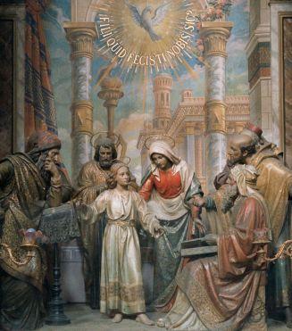 la Virgen con el Niño Jesús, discutiendo en el templo con los Doctores de la Ley