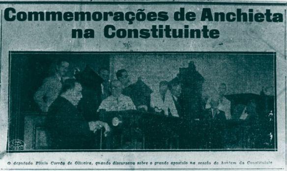 Dr. Plinio homenajeando a Anchieta en la Constutuyente